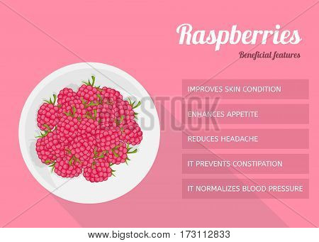 Berries on a white plate. Raspberries benefits