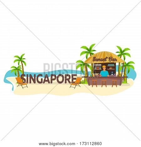 Singapore. Travel. Palm, Drink, Summer, Lounge Chair, Tropical.