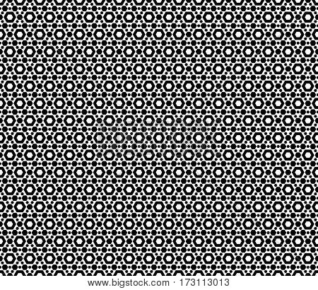 Vector monochrome seamless pattern, repeat geometric texture, black & white hexagonal grid, abstract modern pattern. Background with simple figures, hexagons. Design for decoration, fabric, print, textile, furniture