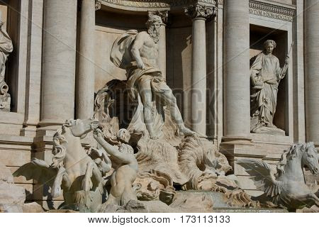 closeup Image of famous Trevi Fountain in Rome Italy.