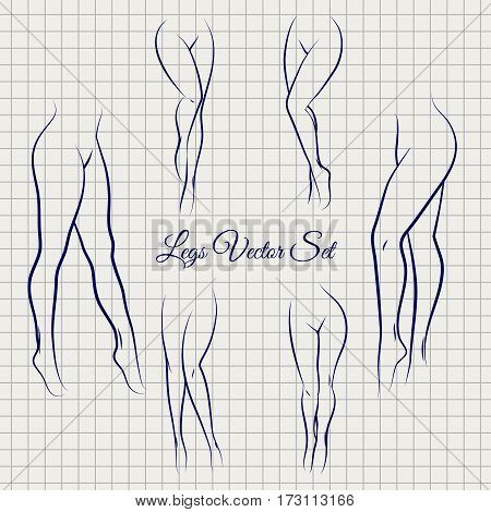 Sexual woman legs sketch icons collection vector on notebook page background