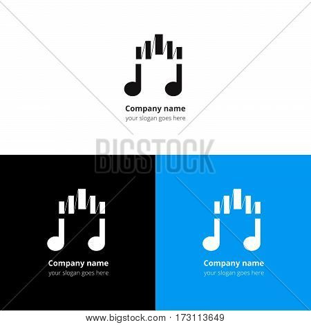 Music note logo, icon, sign, emblem motion equalizer wave beat vector template. Abstract symbol and button with black-white color for music service or company on white-blue-black background.