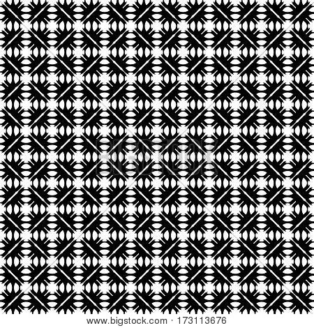 Vector seamless pattern. Abstract monochrome geometric texture. Simple black & white ornamental background with rounded figures. Diagonal grid. Repeat tiles. Design for decor, textile, prints, fabric
