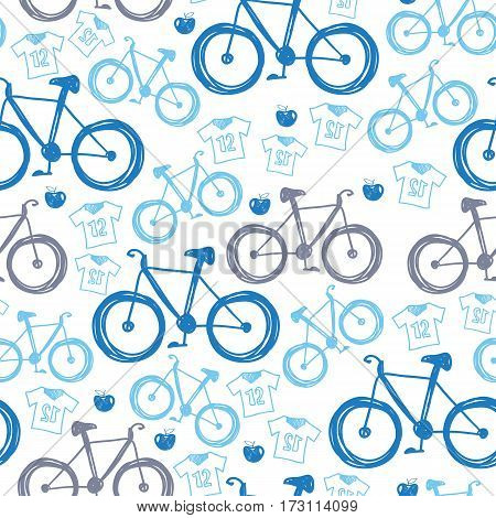 Seamless blue bicycles pattern. Color icons velocipede on white background