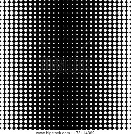 Vector monochrome seamless pattern, black & white halftone transition, different sized spots. Dynamic visual effect, modern simple endless background. Trendy repeat geometric texture, stylish design