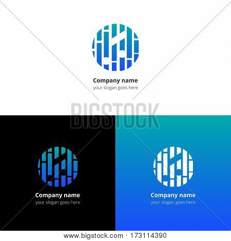 Music note and beat equalizer flat logo, icon, emblem, sign vector template. Abstract symbol and button with light blue-green trend color gradient for music service or company on white background.