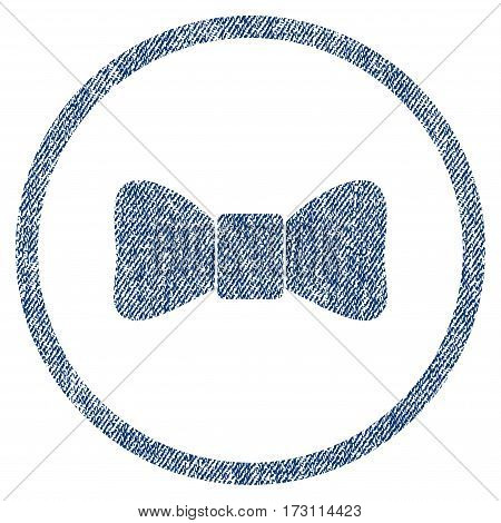 Bow Tie textured icon for overlay watermark stamps. Blue jeans fabric vectorized texture. Rounded flat vector symbol with dirty design. Circled blue ink rubber seal stamp with fiber textile structure.