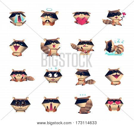 Raccoon animation cartoon character mood icons big set collection with sleepy love happy surprised symbols isolated vector illustration