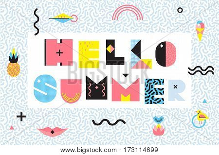 Hello summer memphis style design with black wavy lines geometric elements food on decorative frame vector illustration