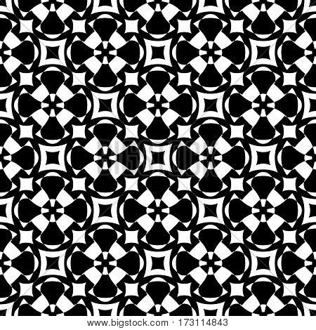 Vector monochrome seamless pattern. Abstract ornamental texture, repeat geometric tiles. Black & white endless background, specular visual effect. Design element for prints, decoration, textile, fabric, furniture, digital, web