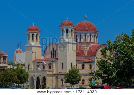 Rethymno Greece - July 31 2016: Four Martyrs Church. This church is dedicated to the local New Martyrs Aggelis Manouil Georgios and Nikolaos who were martyred in 1824 and recognised by local society as protectors of the city.