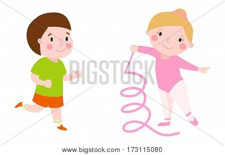 Girl young sport cute gymnast with ribbon flexibility gymnastic strength teenager doing dance and rhythmic performance running boy character vector illustration. Childhood performance acrobat kid.