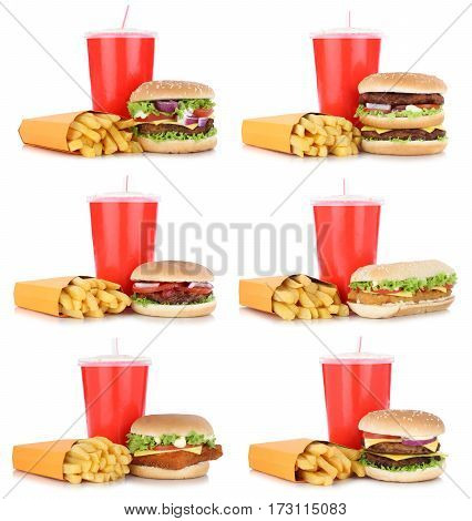 Hamburger Collection Set Cheeseburger And Fries Menu Meal Combo Drink Isolated