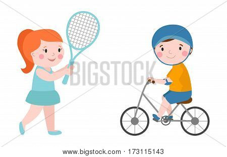 Activity boy on bike young fun sport happy child active lifestyle cartoon recreation and little kid girl tennis player with racket healthy childhood leisure vector illustration. Smiling teenager.