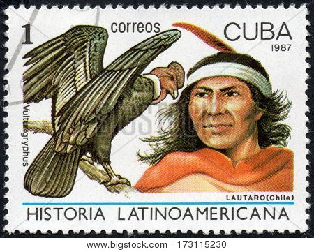 UKRAINE - CIRCA 2017: A stamp printed in Cuba shows The chieftain of the Chilean Indians Lautaro and large bird Andorran condor Vultur gruphus the series Latin American history circa 1987