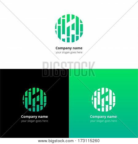 Music note and beat equalizer flat logo, icon, emblem, sign vector template. Abstract symbol and button with light green trend color gradient for music service or company on white background.