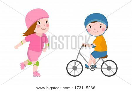 Activity boy on bike young fun sport happy child active lifestyle cartoon recreation and little kid roller beautiful girl healthy childhood leisure vector illustration. Cheerful caucasian teenager.