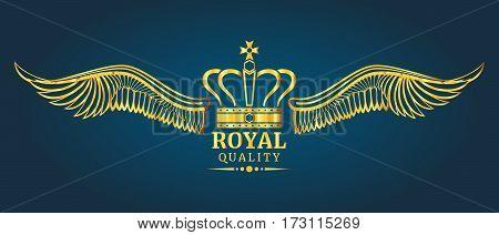 Golden vector crown royal quality logo template. Elegant emblem illustration