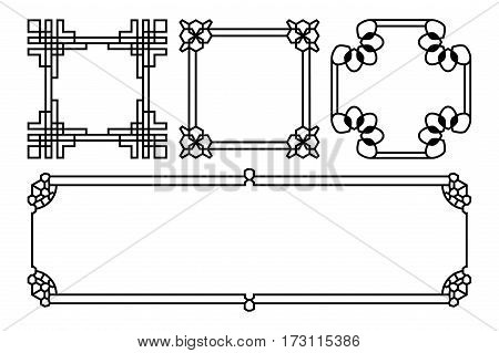Square and rectangle vector asian, korean, chinese, japanese. Graphic element traditional asia illustration