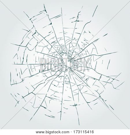 Broken glass with cracks and hole, Crime busted circle, bullet hole in glass.  Vector