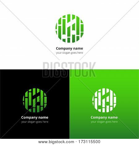 Music note and beat equalizer flat logo, icon, emblem, sign vector template. Abstract symbol and button with green trend color gradient for music service or company on white background.