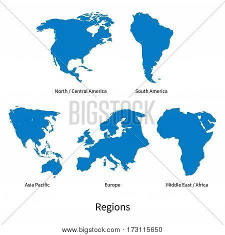 Detailed vector map of North - Central America, Asia Pacific, Europe, South America, Middle and East Africa, Regions on white