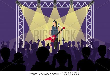 Concert pop group artists on scene music stage night and young rock metall band crowd in front of bright nightclub stage lights vector illustration. Nightlife popular festival light.