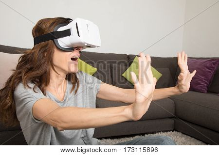 Woman Scared With Vr Glasses