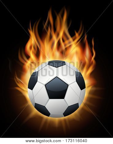 Realistic burning soccer ball isolated black vector. Sport football ball illustration