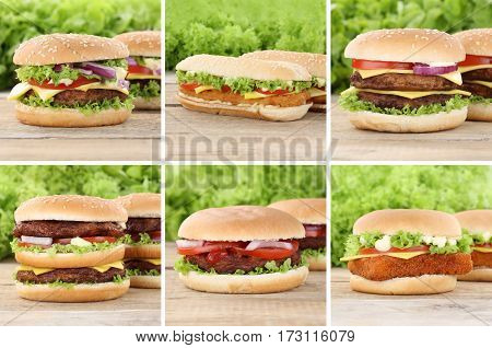 Hamburger Collection Set Cheeseburger Tomatoes Cheese