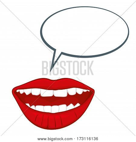Open womans mouth with speech bubble vector illustration. Glamour open female month