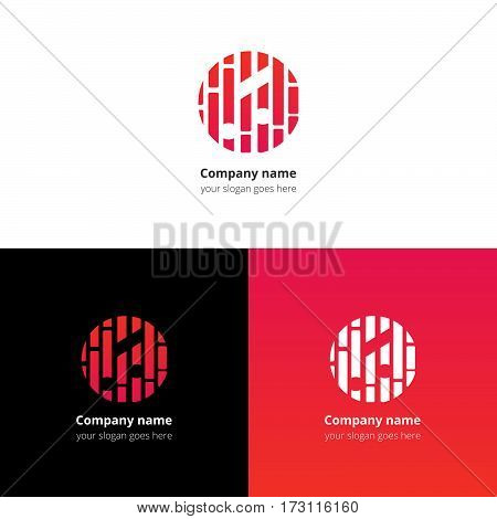 Music note and beat equalizer flat logo, icon, emblem, sign vector template. Abstract symbol and button with red-pink trend color gradient for music service or company on white background.