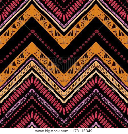Ethnic seamless pattern with lines and zigzags