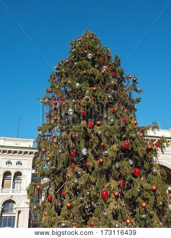 Christmas Tree In Piazza Duomo In Milan