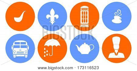 set of icons in the style of a flat design on the theme of Great Britain.