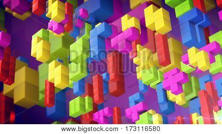 3d cubes on a violet background. Retro game concept.
