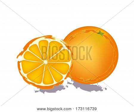 Orange fruit with half section on white background