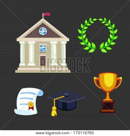 University building flat school education elementary high college symbols and graduation ceremony champion cup winner trophy diploma isolated vector illustration. Architecture exterior house icon.