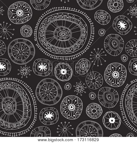 Seamless pattern with vintage decorative mandala elements. Hand drawn yoga background.