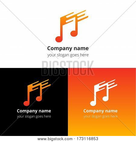 Music note and fast-slow motion beat flat logo, icon, emblem, sign vector template. Abstract symbol and button with yellow-red trend color gradient for music service or company on white background.