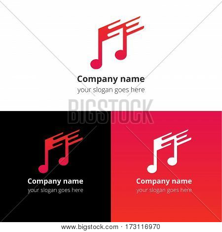 Music note and fast-slow motion beat flat logo, icon, emblem, sign vector template. Abstract symbol and button with pink-red trend color gradient for music service or company on white background.