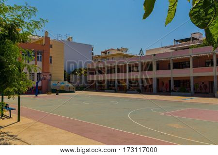 Rethymno, Greece - July  31, 2016: Primary School.