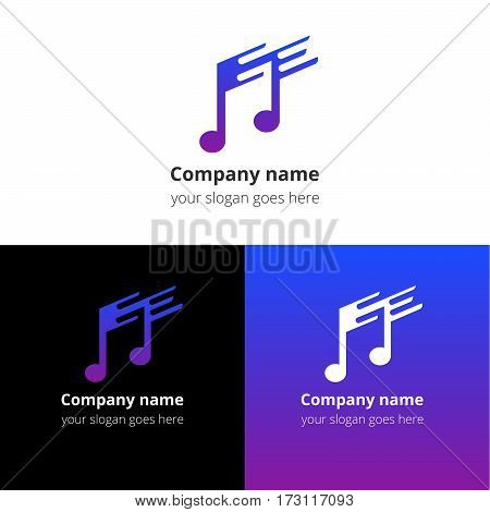 Music note and fast-slow motion beat flat logo, icon, emblem, sign vector template. Abstract symbol and button with blue-violet trend color gradient for music service or company on white background.