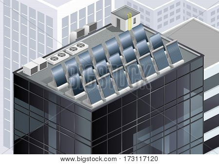 Solar panels on the roof of a skyscraper. Alternative energy. Vector graphics