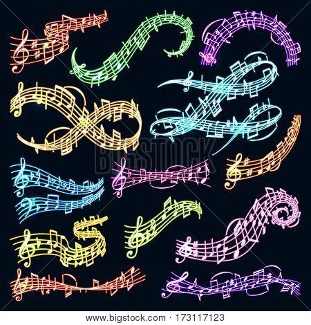 Vector music note melody symbols vector illustration waves