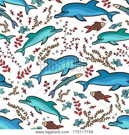 Hand drawn dolphin fish seamless pattern on white background