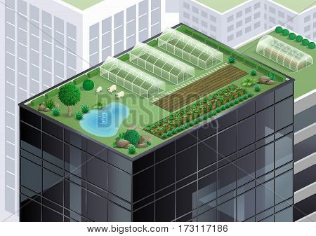 Farm and garden on the roof of a skyscraper in the city. Alternative of agriculture. Vector graphics