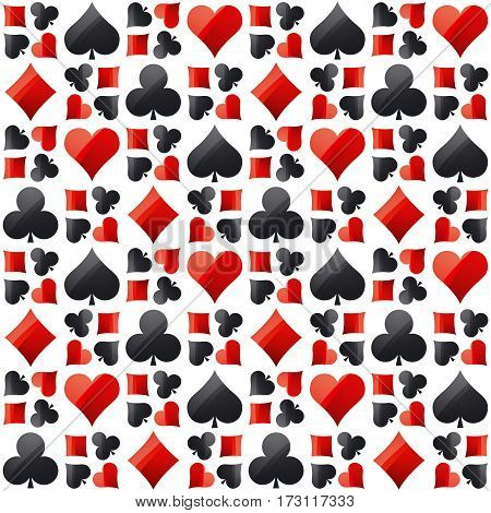 Seamless casino gambling poker background with red and black symbols vector illustration. Ideal for printing onto fabric and paper or scrap booking
