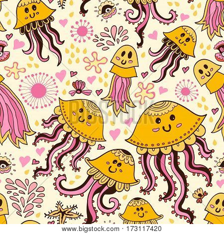 Seamless pattern with cute childish doodle jellyfishes