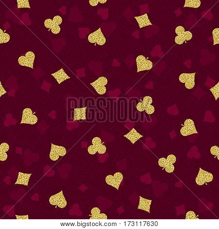 Seamless red gambling poker background with golden symbols vector illustration. Ideal for printing onto fabric and paper or scrap booking